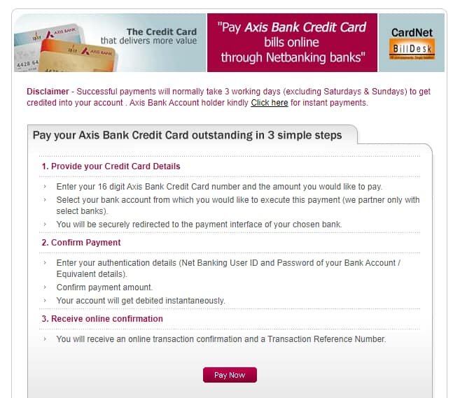 Axis Bank Credit Card Payment How To Pay Credit Card Bills Online Finserv Markets