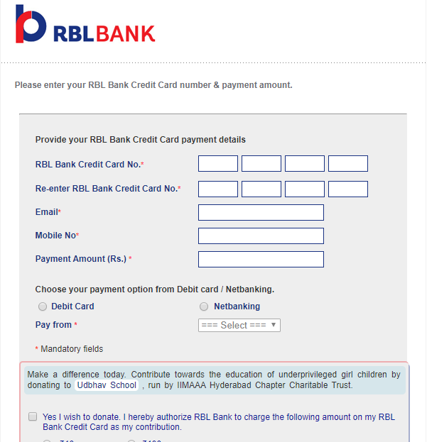 RBL Bank Credit Card Payment